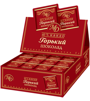"Bars ""Bitter chocolate"" in show-boxes 60% 5gm/200pcs"