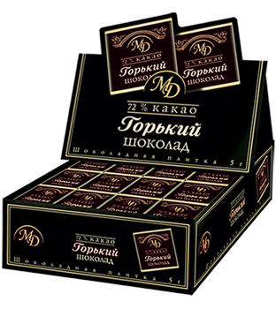 "Bars ""Bitter chocolate"" in show-boxes 72% 5gm/200pcs"