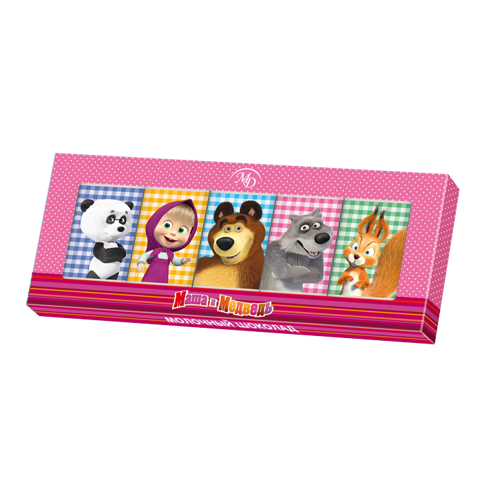 Chocolate set «Masha and the Bear» 60gr/12 pcs milk chocolate