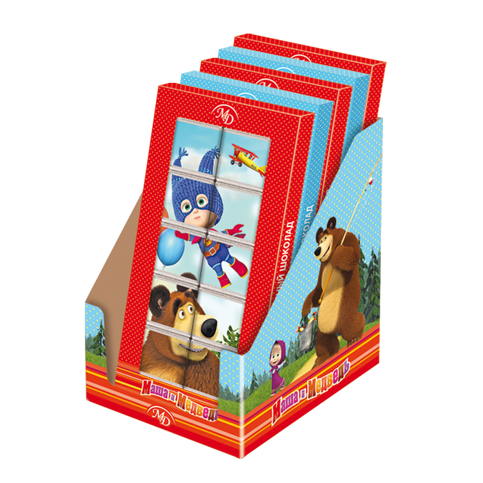 Chocolate puzzle «Masha and the Bear» 50gr/12 pcs milk chocolate
