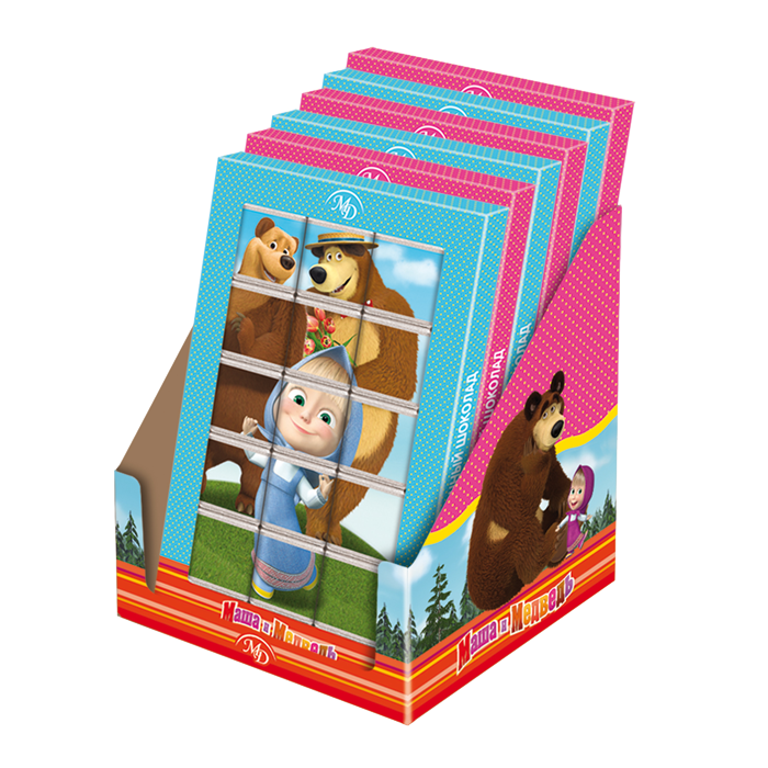 Chocolate puzzle «Masha and the Bear» 75gr/12 pcs milk chocolate